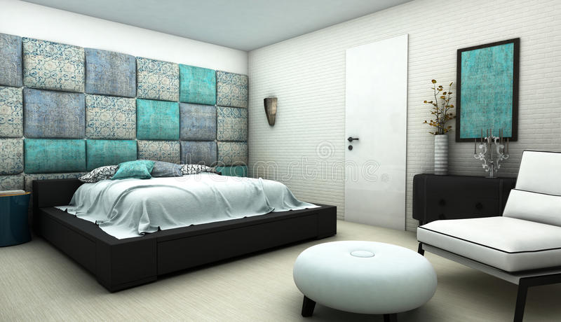 Bedroom with oriental pattern textile wall stock illustration