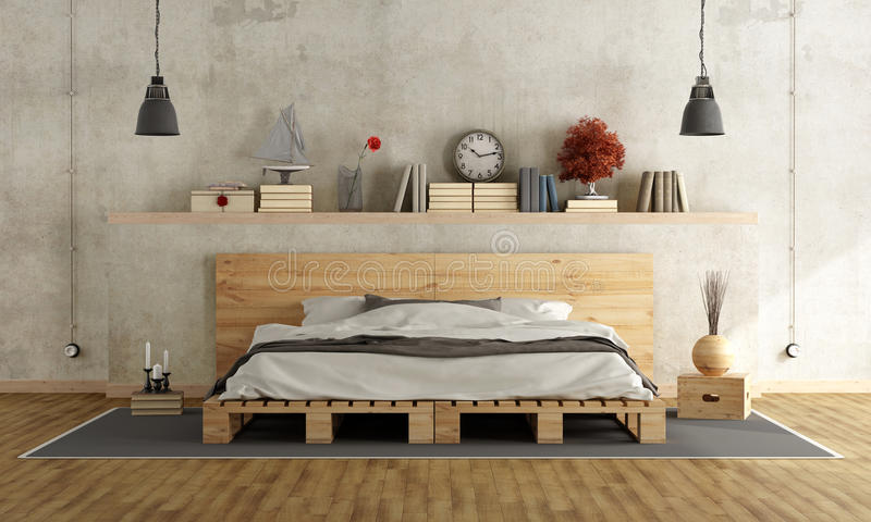 Good Download Bedroom With Pallet Double Bed Stock Illustration   Illustration  Of Objects, Grunge: 67102725