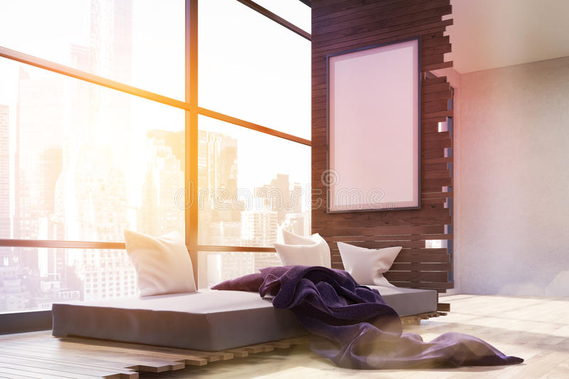 Bedroom with panoramic window. Sunlit bedroom interior in big city. Panoramic window. Poster on wall. Gray bed with pillows and purple blanket. Concept of cozy vector illustration