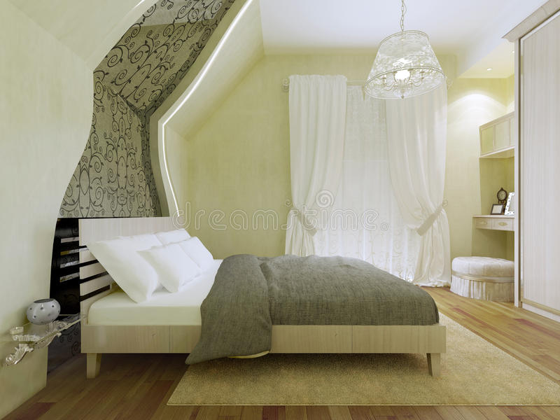 Bedroom with patterned mirror along the inclined wall royalty free stock photo