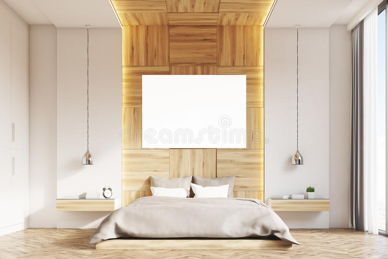 Bedroom with picture, light wood, front royalty free illustration