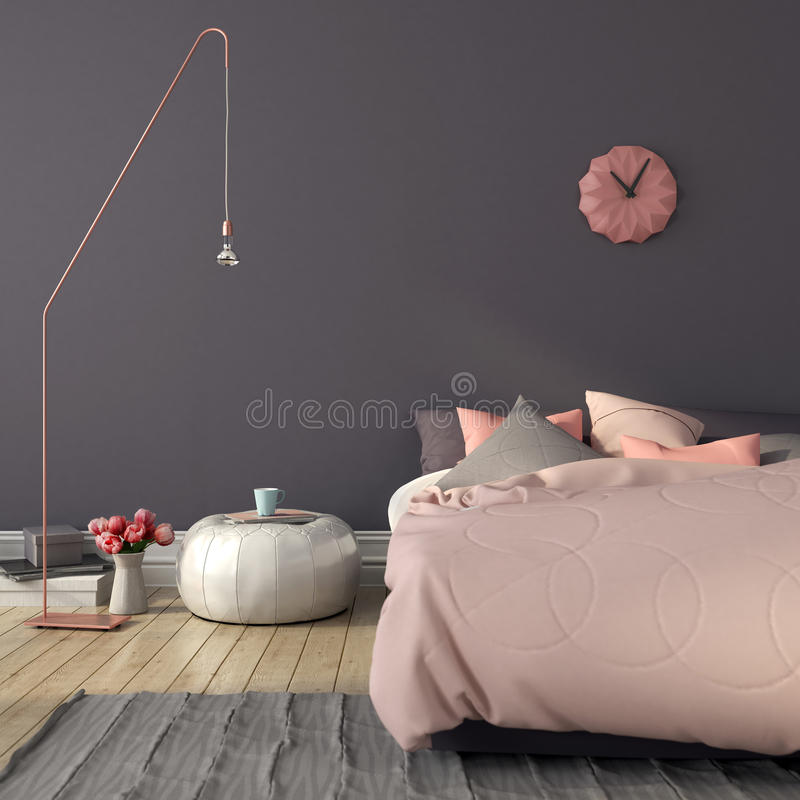 Bedroom in pink and gray color royalty free stock images
