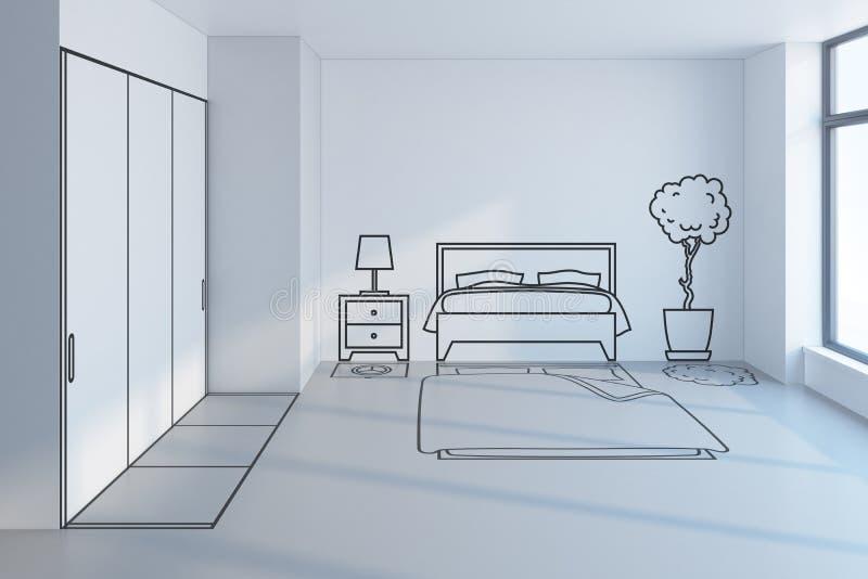 Bedroom planning design stock illustration Illustration of draft