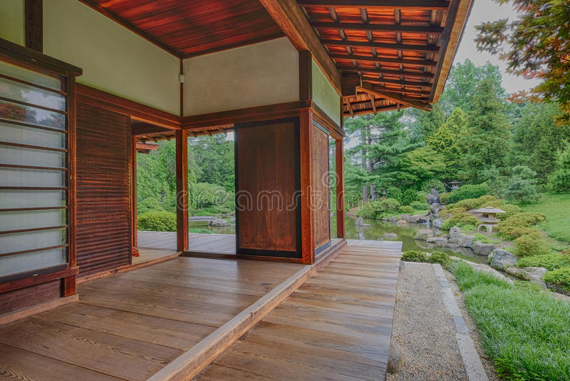 Bedroom porch and deck overlooking the peace and tranquility of. The Japanese Tea house gardens and Koi Fish Pond stock images