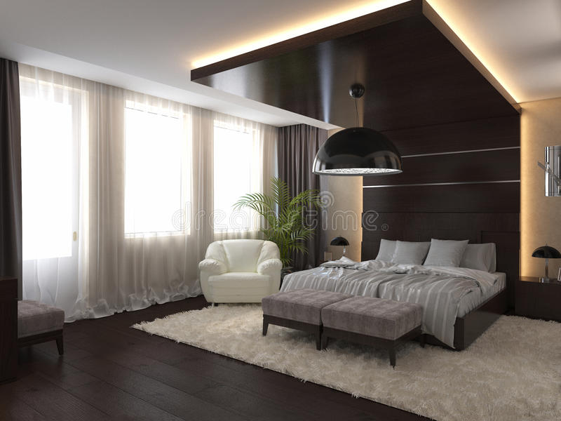 Bedroom in a private house in brown and beige colors. 3D render bedroom in a private house in brown and beige colors vector illustration