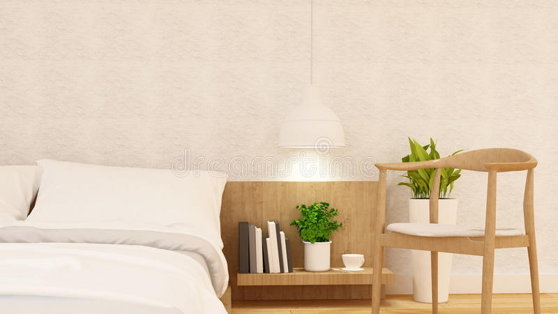 Bedroom and relax chair clean design - 3d rendering royalty free illustration
