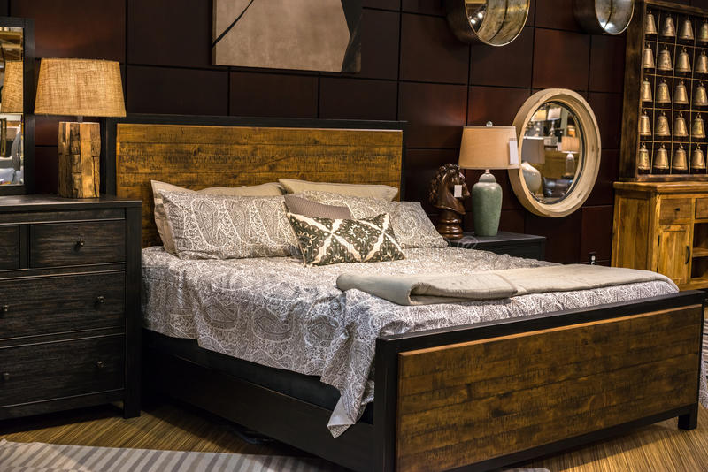 Bedroom set. View of bedroom furniture display royalty free stock images