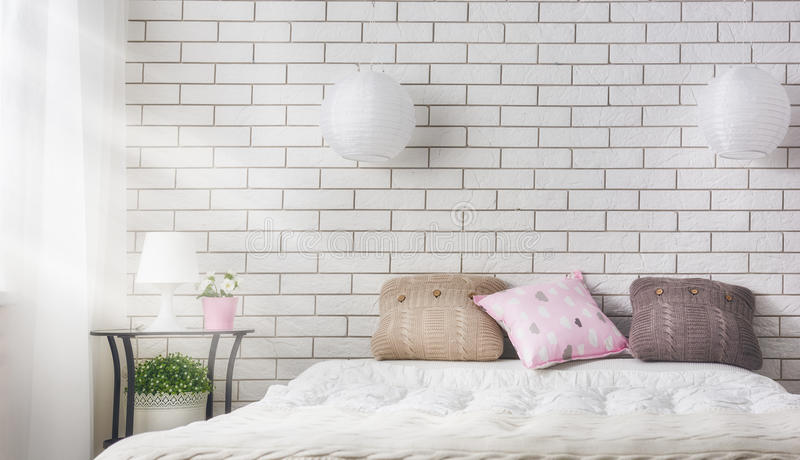 Bedroom in soft light colors stock photo