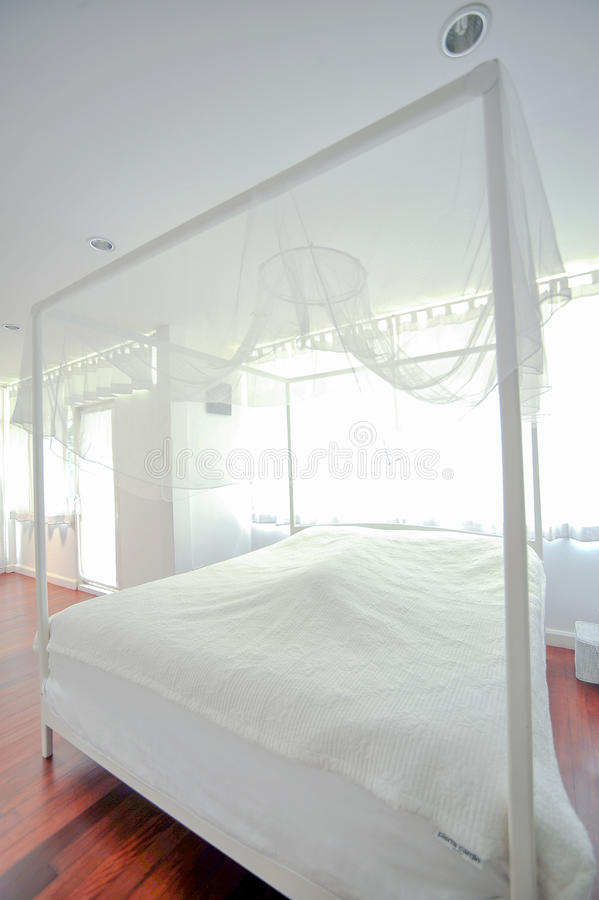 Bedroom in soft light colors royalty free stock photo