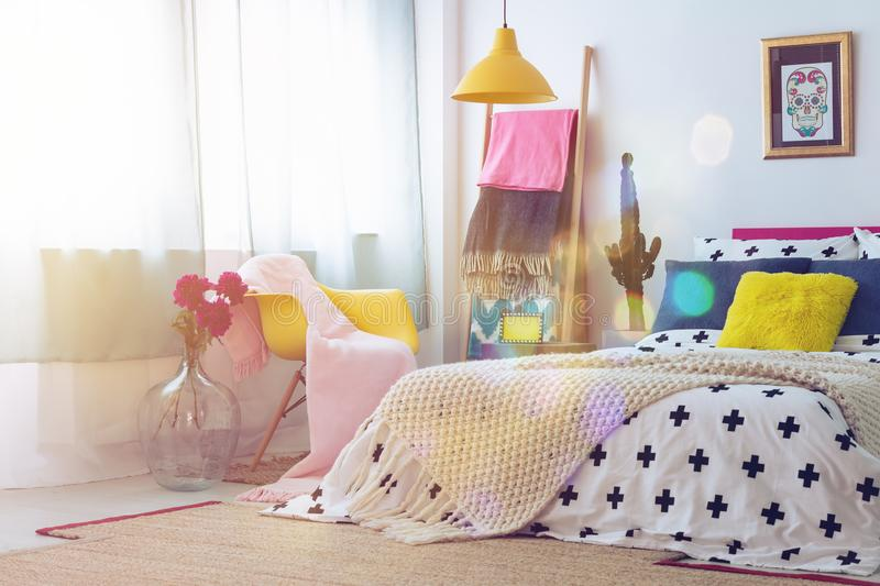 Bedroom with sugar skull picture stock images
