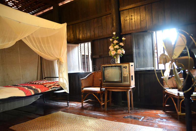 Bedroom in traditional Thai house in Northern region stock photos