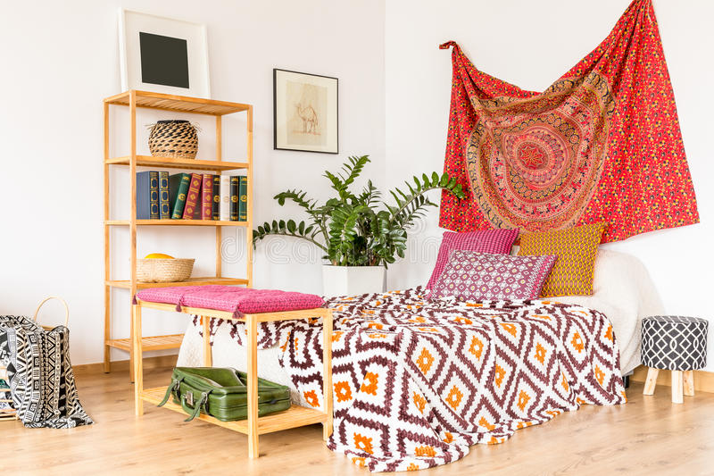 Bedroom in warm color royalty free stock photo