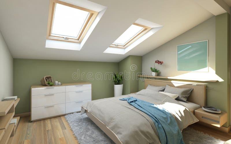 Bedroomin sulla soffitta illustrazione di stock