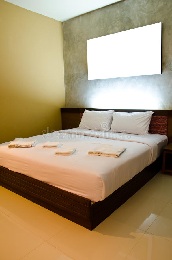 Bedrooms are simple. But warm and comfortable sleep royalty free stock photo