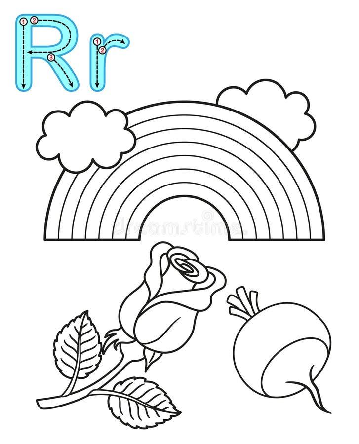 Bedruckbare F?rbungsseite f?r Kindergarten und Vorschule Karte f?r Studie Englisch Vektormalbuchalphabet Zeichen R Regenbogen, stock abbildung
