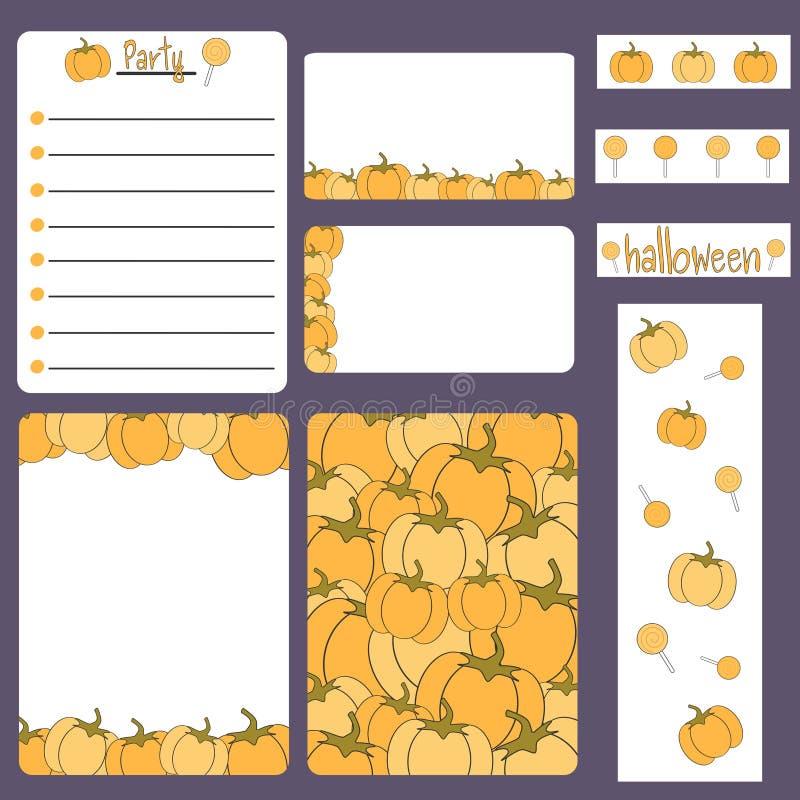 Bedruckbare Sammlung Halloweens der netten Karikatur stellte mit Karte, Fahne, Anmerkung, Rahmen, Aufklebern und Einladung ein vektor abbildung