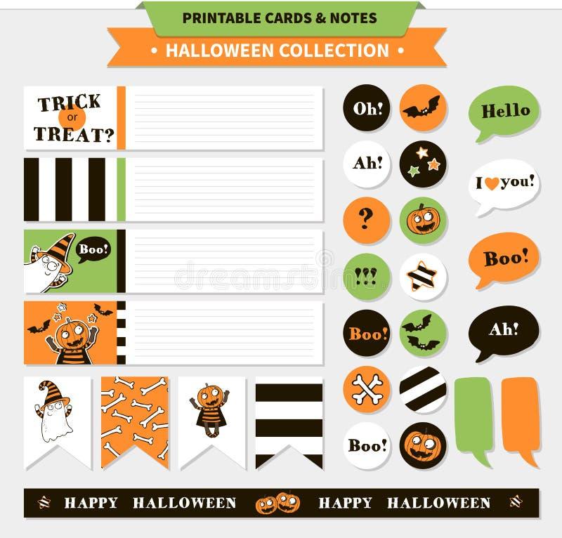Bedruckbarer Satz Halloween-Vektors lizenzfreie abbildung