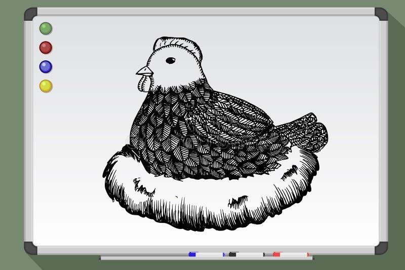 Bedrukte kip in nest stock illustratie