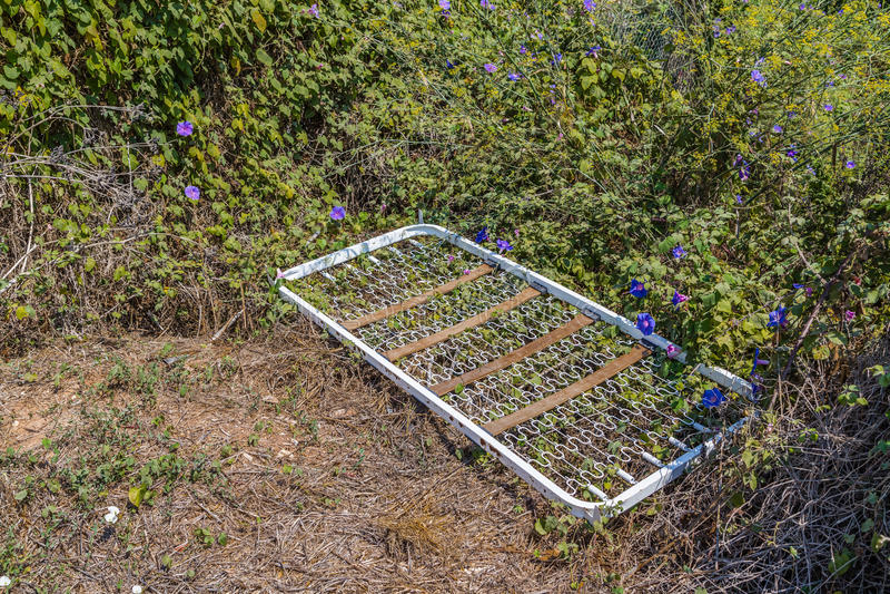 bedspring που αφήνεται στη μέση των ζιζανίων στοκ φωτογραφία με δικαίωμα ελεύθερης χρήσης