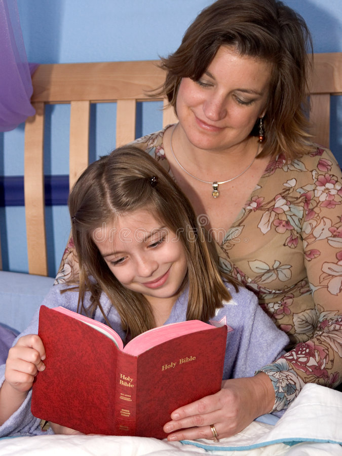Bedtime Bible Story 2. A mother and daughter reading bible stories at bedtime