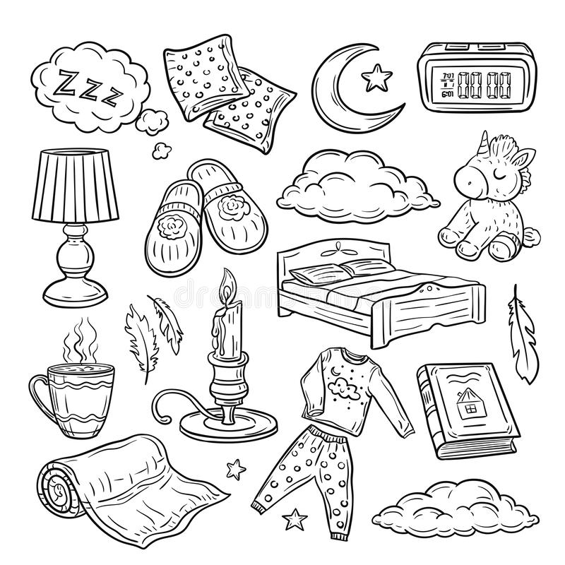 Bedtime doodle. Relax sleep, comfortable pillow feathers dream zzz night dreaming. Sleeping time hand drawn vector set. Sleep doodle element, bedtime outline royalty free illustration
