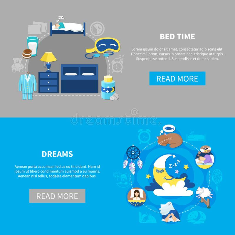 Bedtime Dreams 2 Flat Banners Stock Vector Illustration Of