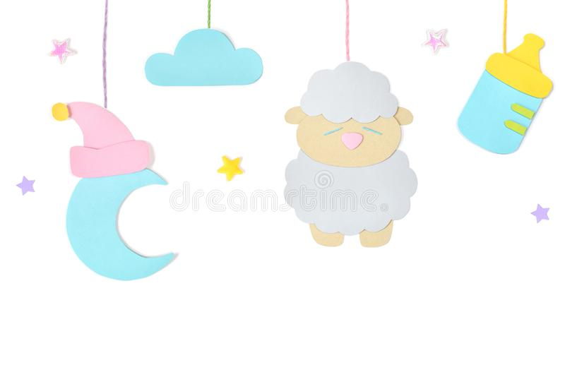 Bedtime paper cut on white background stock illustration