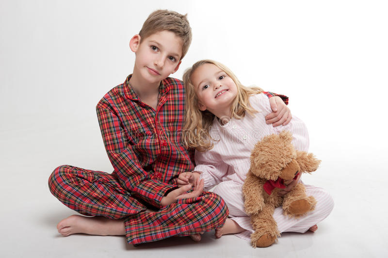 Download Bedtime for siblings stock photo. Image of bear, barefoot - 21362338