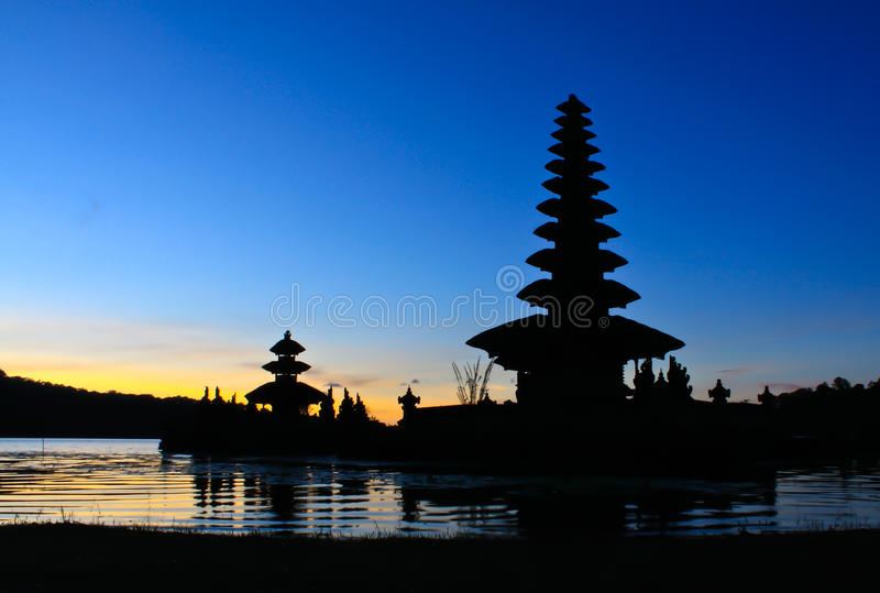 Bedugul temple. In Bali at sunrise stock images