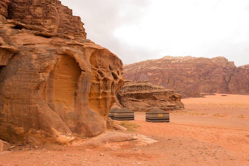 Beduińscy namioty, wadiego rumu pustynia, Jordania fotografia royalty free