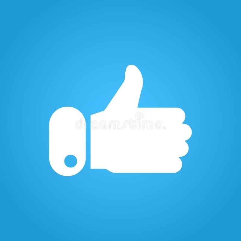Beduimelt omhoog pictogram op blauwe achtergrond Als symbool Blogging en online overseinen, de sociaal netwerkendiensten teller vector illustratie