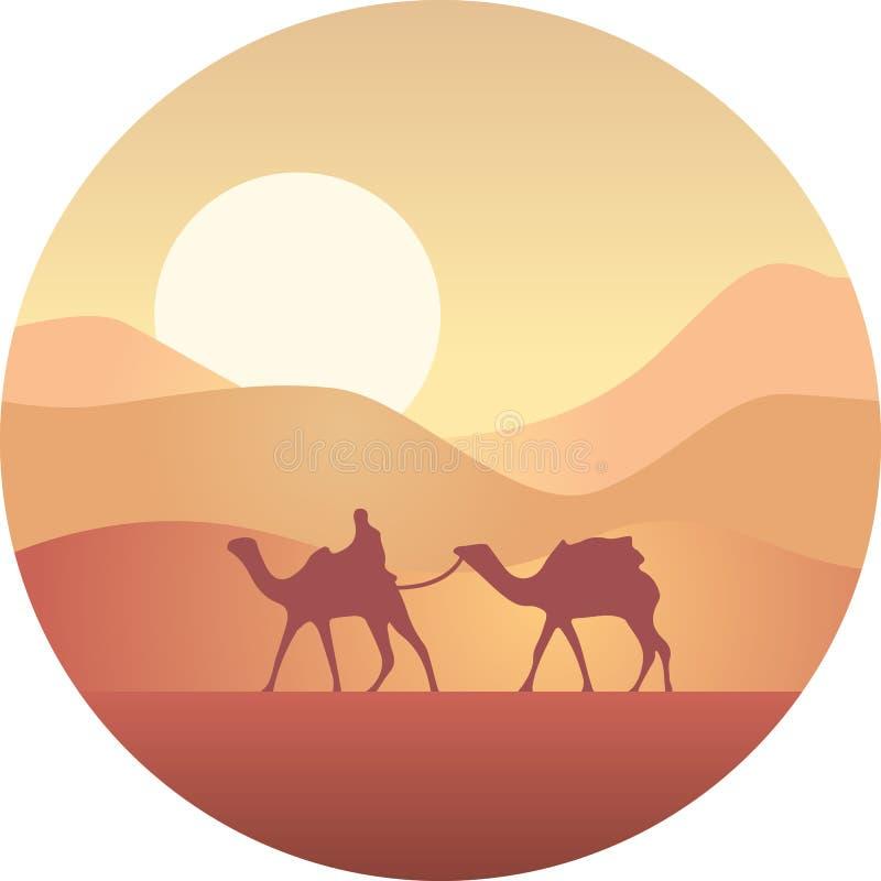 Beduin som leder en husvagn av kamel i öknen på solnedgången stock illustrationer