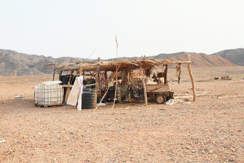 Beduinischer Schutz in der Wüste in Marsa Alam stockfotografie