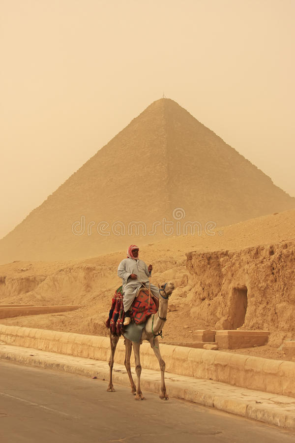 Beduinisches Reitkamel nahe großer Pyramide von Khufu in einem Sandsturm lizenzfreie stockbilder