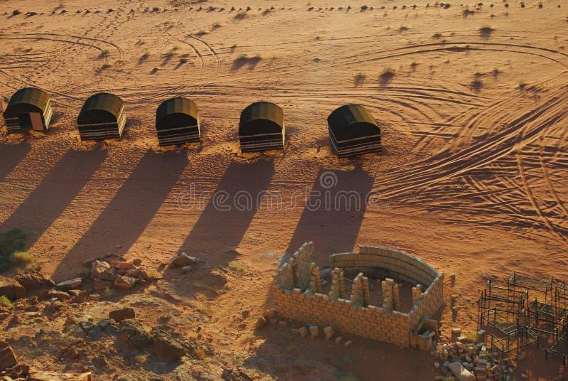Beduinläger i den Wadi Rum öknen, Jordanien arkivbild