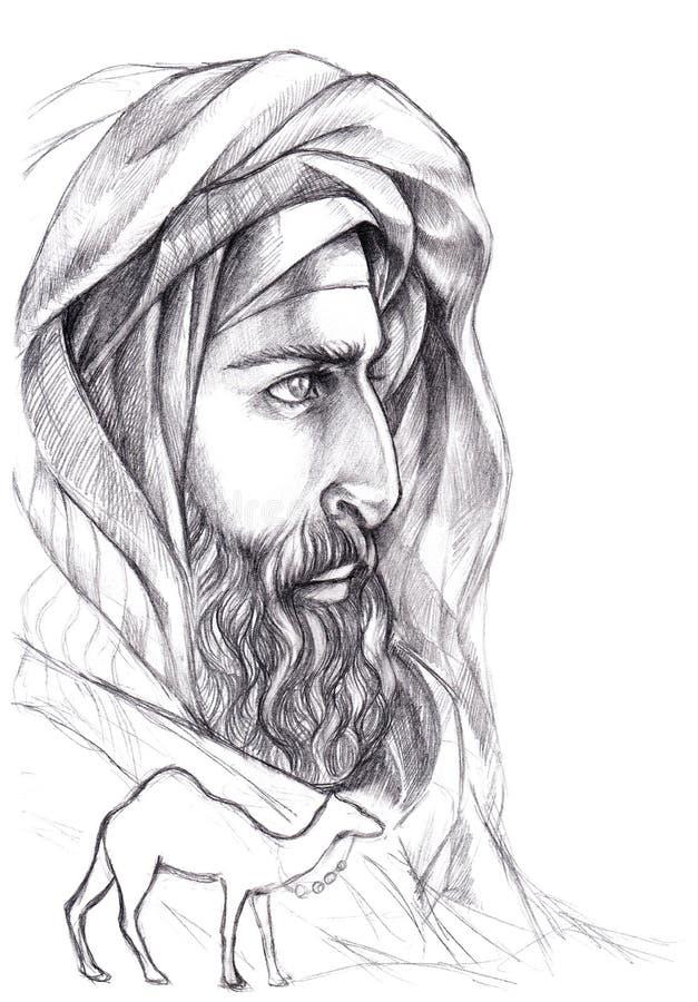 Beduino del retrato, árabe con una barba en un turbante ilustración del vector