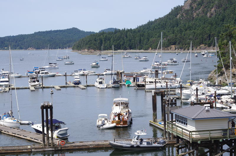 Bedwell Harbour in the southern part of Pender Island in the Gulf Islands in BC, Canada. Bedwell Harbour can accommodate both floater planes and boats arriving royalty free stock photos