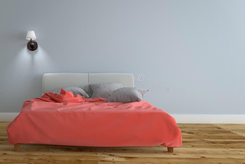 Bedzaal Binnenland met zwarte lamp en lichtrood bed, houten vloer op lichtblauwe muurachtergrond het 3d teruggeven vector illustratie