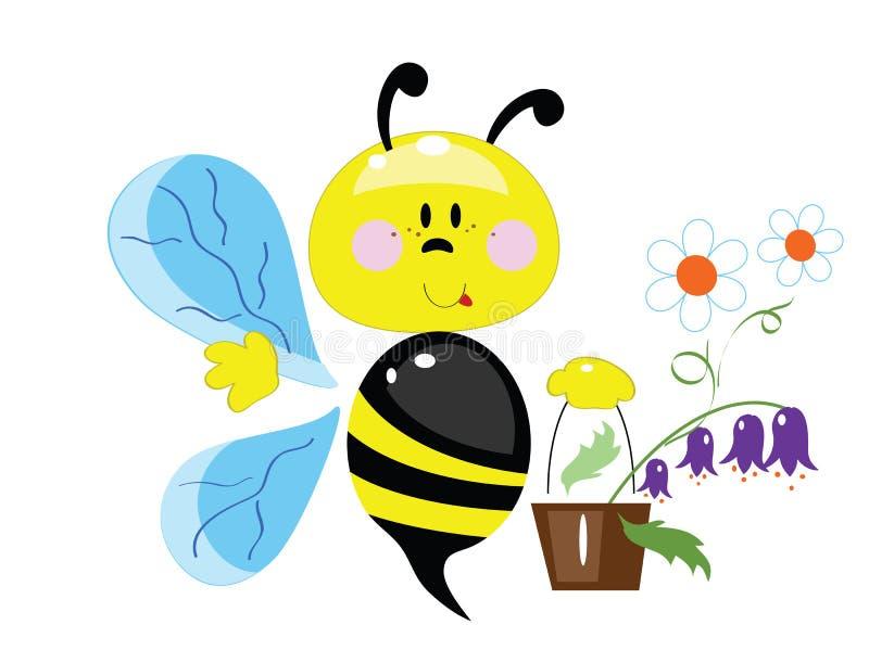Download Bee stock vector. Illustration of invitation, chamomile - 24519284