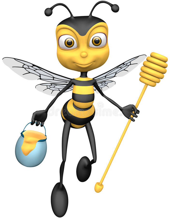 Bee. With honey dripper and pail of honey (Picture with isolation on a white background stock illustration