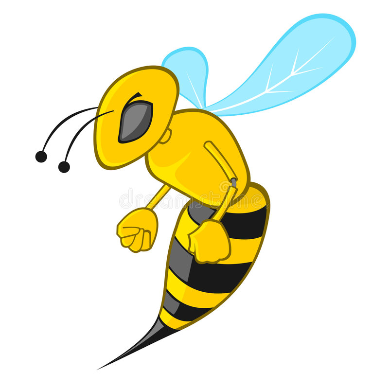 Bee. A angry bee illustration (isolated