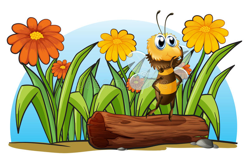 A bee above a trunk. Illustration of a bee above a trunk on a white background vector illustration