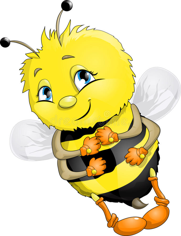 Bee. The animation bee on a white background vector illustration