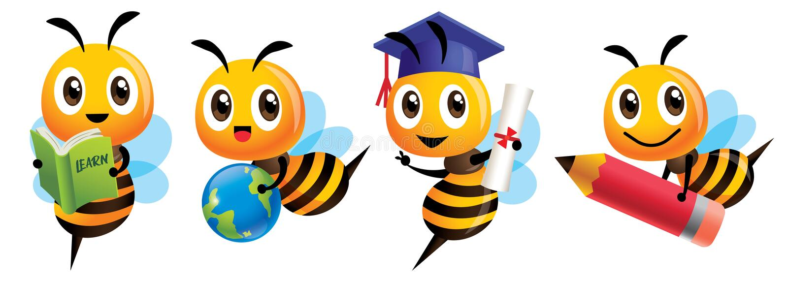 Bee Back to school set. Cartoon cute bee education mascot set. Cartoon cute bee graduation, holding a learning book vector illustration