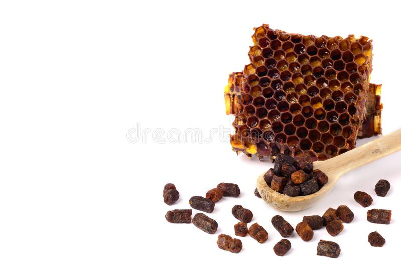 Bee bread granules and a piece of honey cells are isolated on a white background. Natural remedy for immunity enhancement. Beekeep. Bee granules and a piece of royalty free stock image