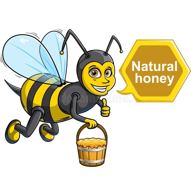Bee with bucket of honey royalty free stock photo