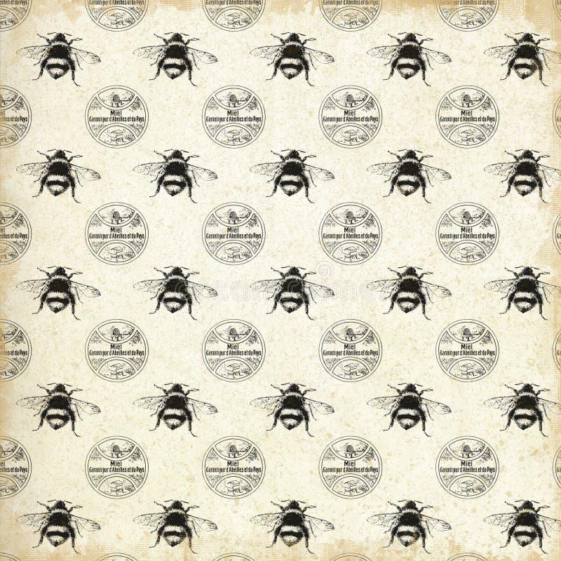 Εκλεκτής ποιότητας διαμορφωμένο μελισσουργείο έγγραφο - εκλεκτής ποιότητας μέλισσες - βασίλισσα Bee - Bumblebee - ύφος αγροικιών  στοκ εικόνα