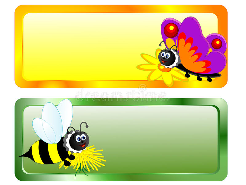 Bee and butterfly stock illustration