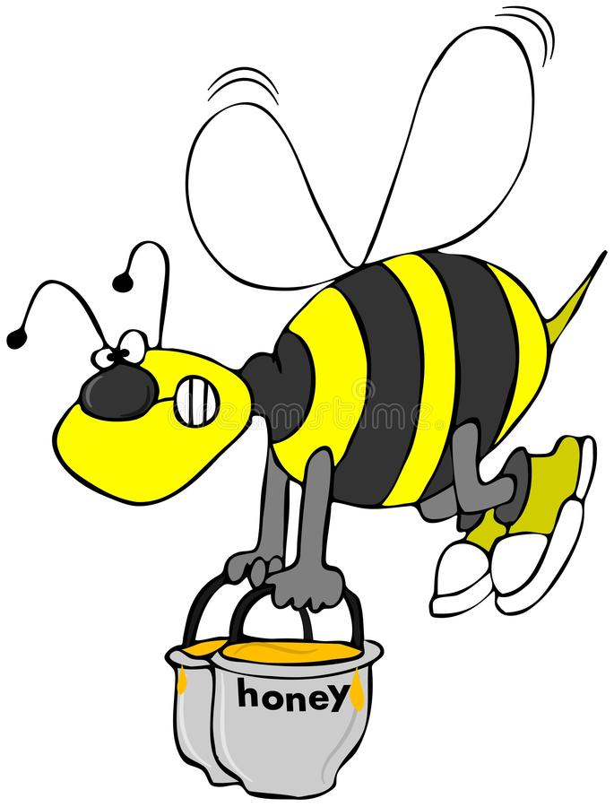 Download Bee carrying pots of honey stock illustration. Illustration of sweet - 25271664