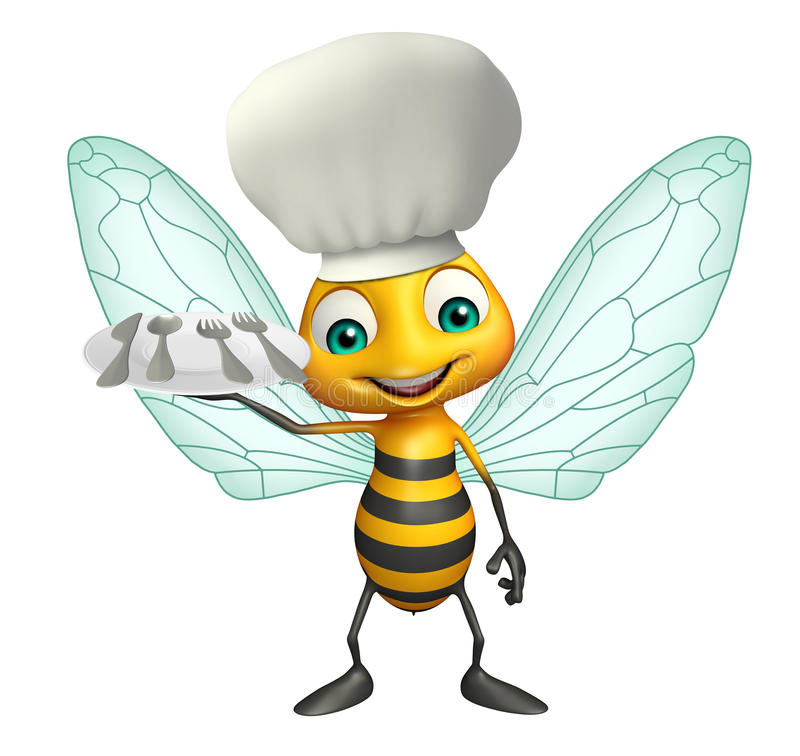 Bee cartoon character with chef hat and dinner plate. 3d rendered illustration of Bee cartoon character with chef hat and dinner plate royalty free illustration